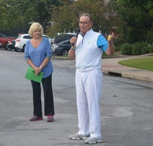 Prostate cancer survivor Rob Voss talks to the golfers at Top to Bottom Golf Tourney, benefiting the Prostate Cancer Organization of the Ozarks, about the importance of men getting tested for the disease.